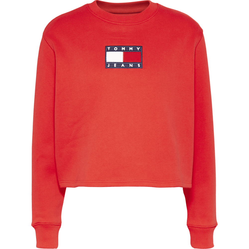 Tommy flag crew sweat in red