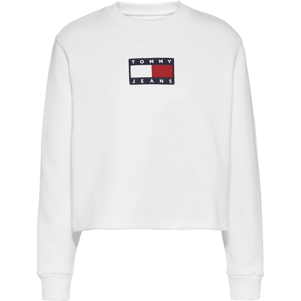 Tommy flag crew sweat in white